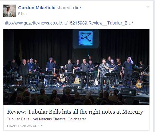 Mike Oldfield shared our review!